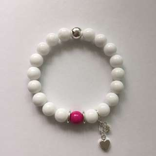 White Agate Bracelet With Heart Charm