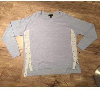 J CREW Powder Blue Merino Wool & Linen Lightweight Spring Sweater Women's M NWOT