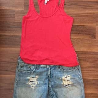 Size Small Tank & Size 28 Jean Shorts