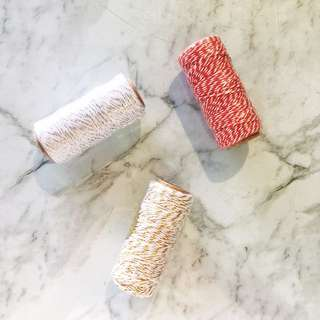 Striped cotton twine - assorted colours