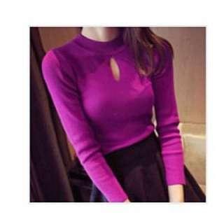 Long Sleeve Key Hole Ribbed Sweater - Deep Fuschia
