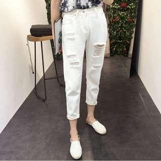 🚚 白色刷破牛仔褲 反折長褲 #三百元牛仔