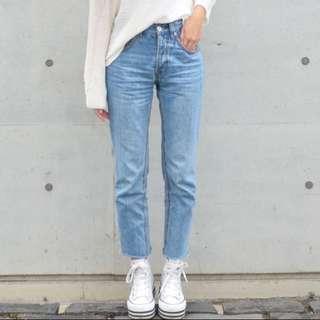 Mom jeans復古高腰直筒牛仔褲