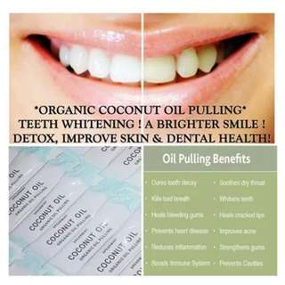 Natural Teeth Whitening Oil Pulling Mouthwash Coconut Oil Pulling Sachets Dentist Recommended Rinse Organic Detox!