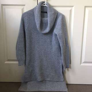Grey Cow Neck Jumper