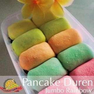 Pancake Duren Durian Medan Jumbo Rainbow Original isi 10 pcs Free Box Plastik