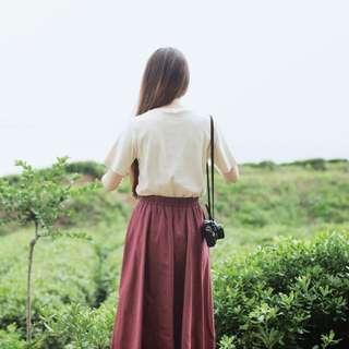 💁🏼日系🇯🇵森林系復古風🌿棉麻學院風長裙 顯瘦A字裙騎車防曬裙防走光