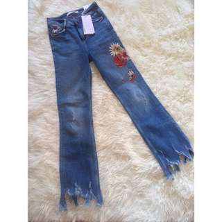 Mini Flare Jeans With Embroided