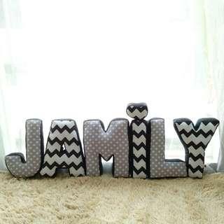 Alphabet Pillow (grey polka alt black white chevron)