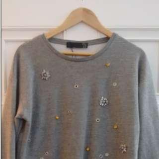 Zara embellished grey jumper