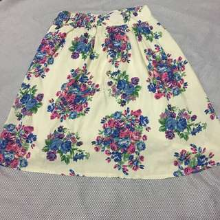 Cream Flower Skirt