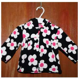 Carter's Light Pink/Black/White Flowers Jacket with Hood