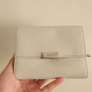 Authentic Furla Snap Close Trifold Wallet (white)