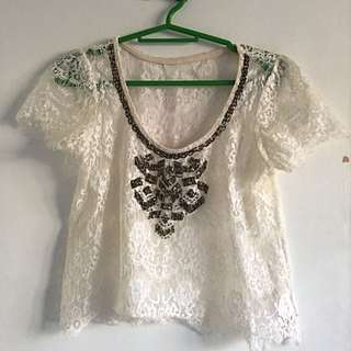 Beaded Lace Cover Up