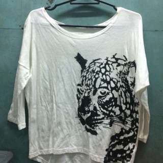 White Crop Top With Jaguar Print