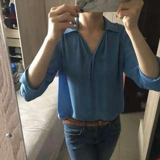 韓製 超夏天 天空藍 七分雪紡上衣