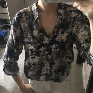 韓製 大理石紋 雪紡上衣