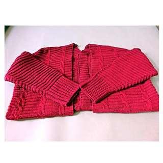 厚實感針織外套(酒紅)