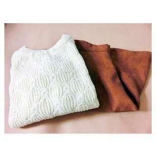厚實感針織上衣(白)