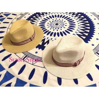 現貨🎩小蒜 同款 民族風 波希米亞風 圖騰編織草帽 遮陽帽 沙灘帽