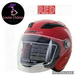 HNJ Half Face Motorcycle Helmet (RED)