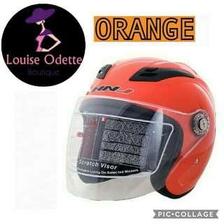 HNJ Half Face Motorcycle Helmet (ORANGE)