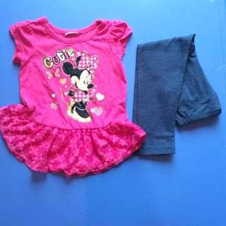 女童套裝 T+ 長褲 米妮 蕾絲 1-4歲
