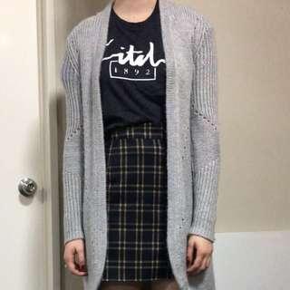 Grey Wooden Knit Cardi