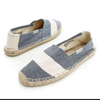現貨出清✨Soludos 藍白寬條紋草編鞋