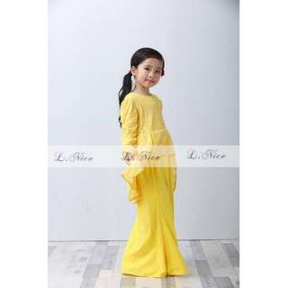 Kids Girl Baju Kurung Peplum Yellow