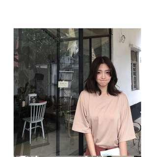 韓版女裝寬鬆顯瘦圓領短袖T 百搭素色