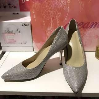 Silver Shining Jimmy Choo Style High Heels