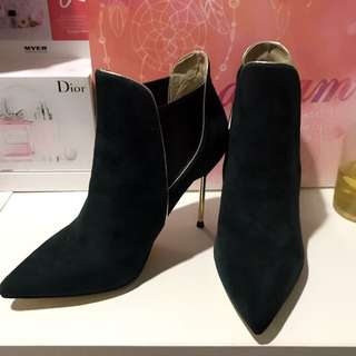 Green And Gold Lining Ankle Boots High Heels