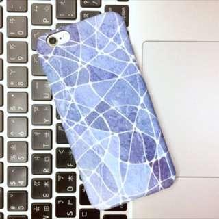 藍色大理石紋文藝手機殼硬殼(i6/i6s、i7)