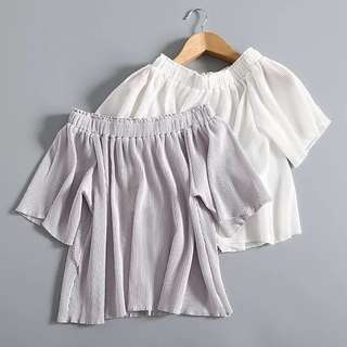 Pleated Off Shoulder Blouse In White