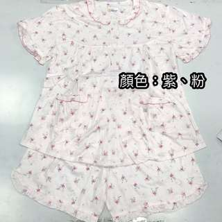 夏季短袖睡衣_玫瑰花款(紫色、粉色)