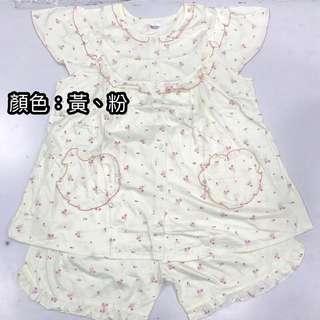 夏季短袖睡衣_小花款(黃色、粉色)