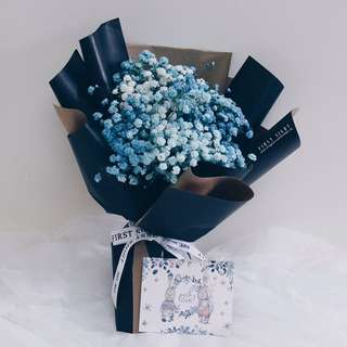 Korean Style Inspired - Blue Hues Baby Breath Bouquet
