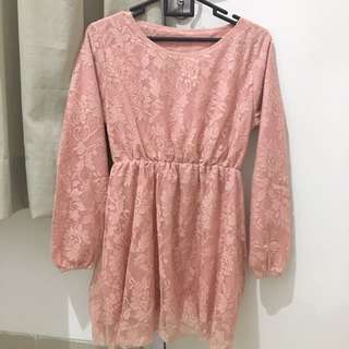 Brokat Top Peach Pink