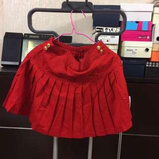 Lowrys Farm Red Pleated Mini Skirt