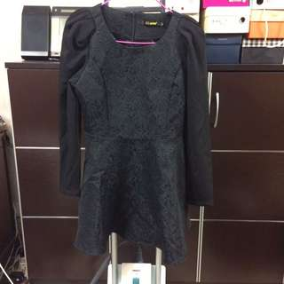 Black Textured Long Sleeves Dress