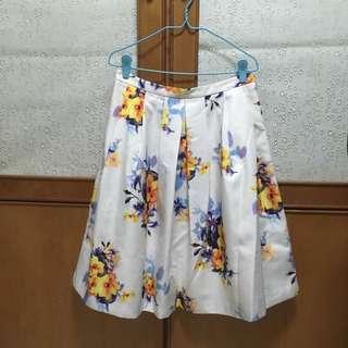 Pleated Floral Full Skirt