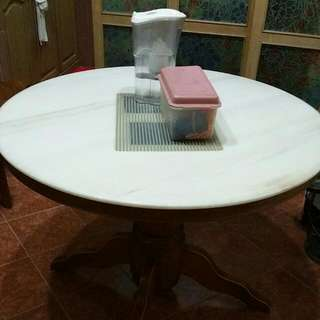 Round Table Marble Dining Table With/Without 5 Chair (Price Reduce to $130