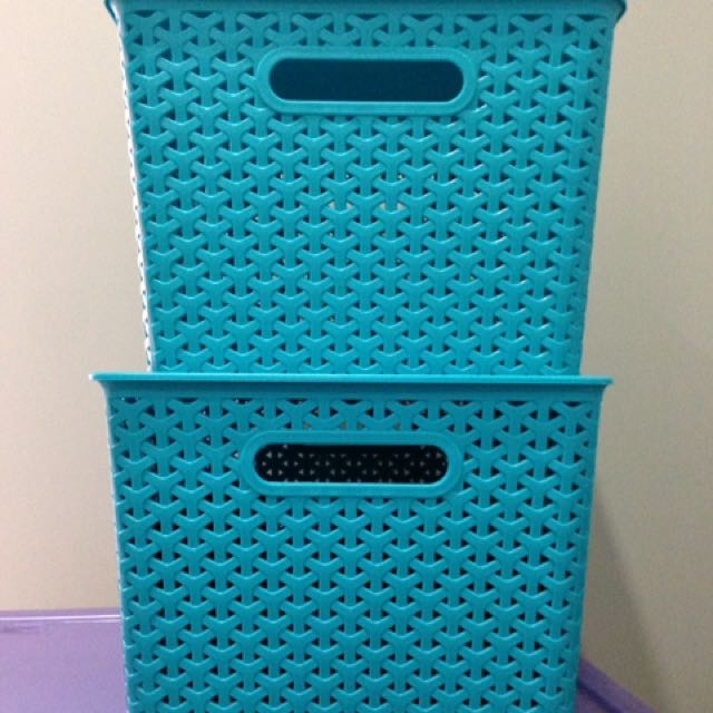 2x Like New Container With Lid ; Decorative Storage