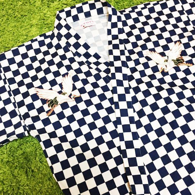 日本和服/刺繡外套/古著/丹頂鶴/薄外套/棋盤格