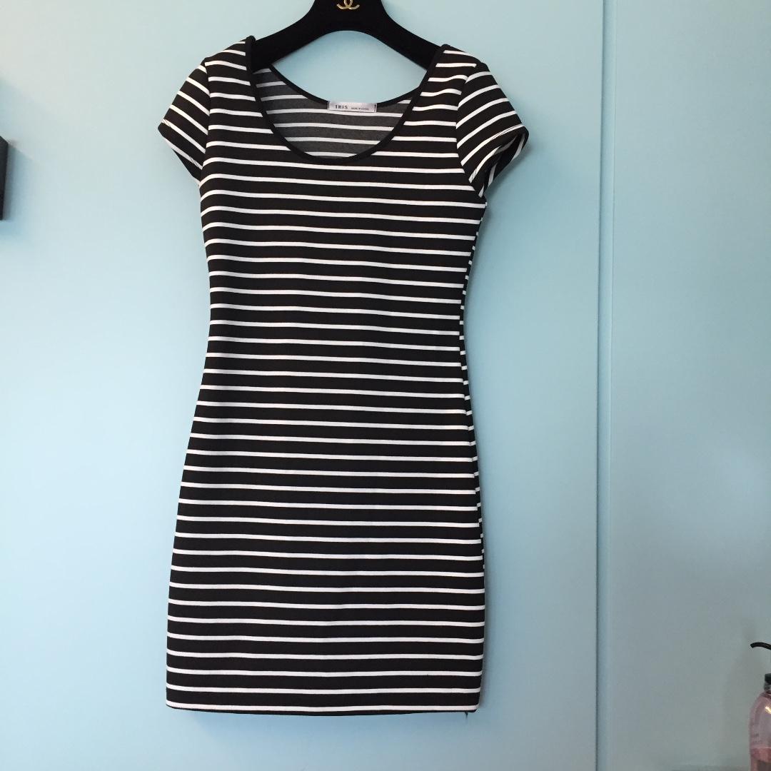 韓貨條紋合身彈性洋裝