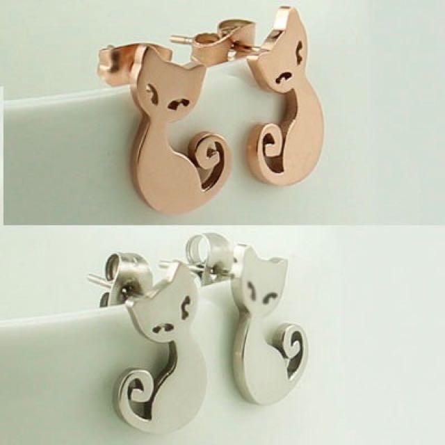 可愛貓咪耳環