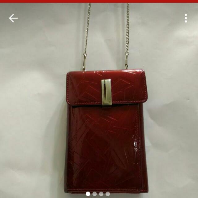 亮紅色漆皮皮夾