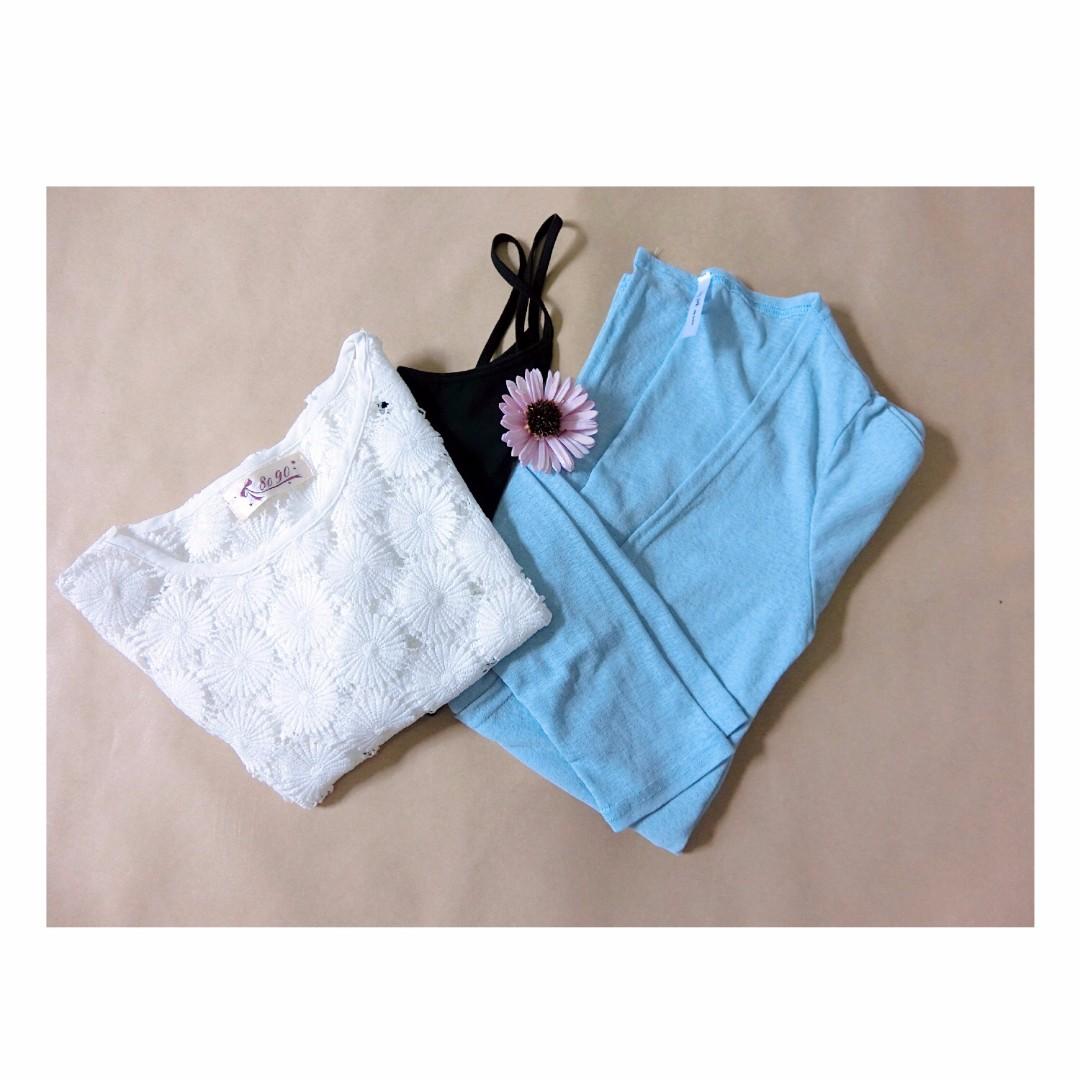 水藍色雪紡罩衫