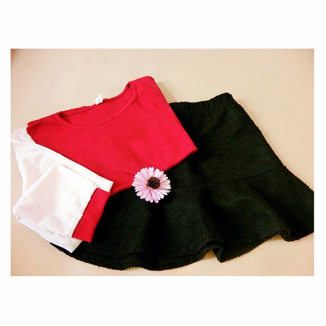 拼接袖短版上衣(紅白)